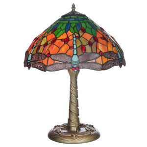"12"" Mitcham Tiffany  Hand Crafted Table Lamp With Stained Glass Dragonfly Shade 5032669283871"