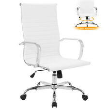 White Chair Home Office Executive High Back Height Adjustable Seat Pu Leather Us
