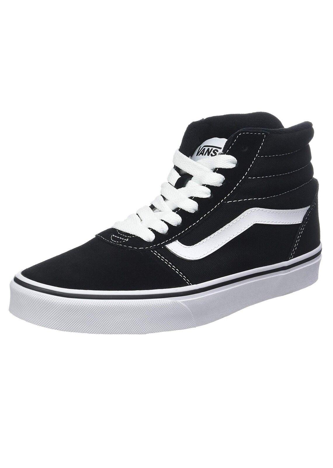 Vans Ward Hi Top A Righe Tela Camoscio Skater Scarpe Casual Nero Bianco