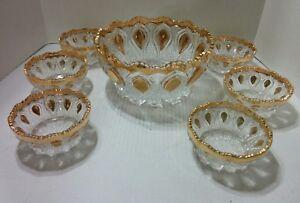 VINTAGE-PRESSED-GLASS-BERRY-BOWL-SET-OF-7-GOLD-TRIMMED-1-large-bowl-6-smaller