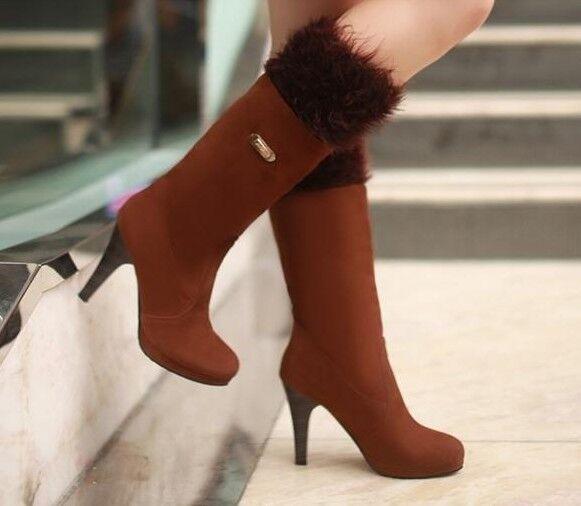 stivali stivaletti scarpe donna marrone eco pelliccia pelle tacco 10  simil pelle pelliccia 9151 4d54ad