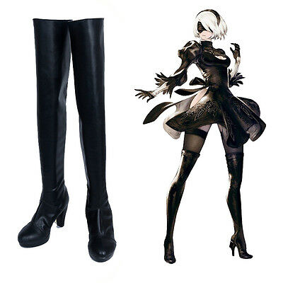 Automata 2B Boots Cosplay Shoes Nier Black Over the Knee Boots Customized Nier