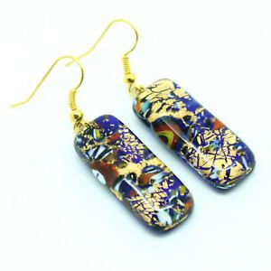 Pendientes De Cristal De Murano Auténtico venecianos Oro Azul Hecho A Mano