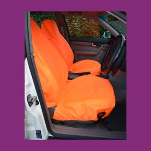 Front Car Van Fluorescent Orange Waterproof LARGE Universal Airbag Seat Covers