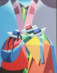 Signed VARITTAS Latin American Sombreros Cubism Folk Art Painting Peru Mexico