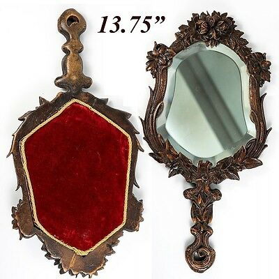 """Antique Carved Black Forest Hand or Vanity Mirror, Roses, 13.75"""", c. 1880-1915"""