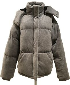 NEW-KENDALL-KYLIE-GRAY-VELOUR-PUFFER-JACKET-S-XS-335