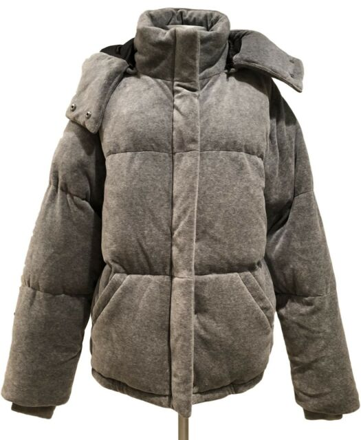 NEW, KENDALL + KYLIE GRAY VELOUR PUFFER JACKET, S, $335