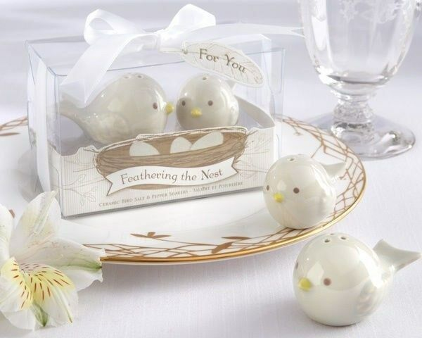 25 25 25 Feathering the Nest Bird Salt & Pepper Shakers Baby Shower Party Gift Favors 58cc34