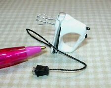 Miniature White Hand Mixer, Wire Beaters for DOLLHOUSE 1/12 Scale
