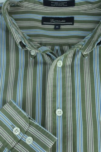 E Marrone Camicia Blu Verde Faconnable Uomo Cotone Xl Righe Casual A In nBq7wfxZ