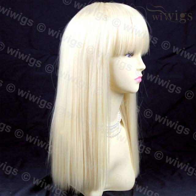 Sexy Pale Blonde Long Ladies Wigs Skin Top Bangs From WIWIGS UK