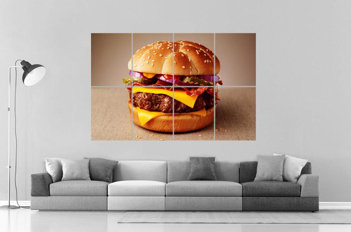 Burger Fries Smashed Wall Sticker Decal Home Decor Art Mural Hamburger Food J324