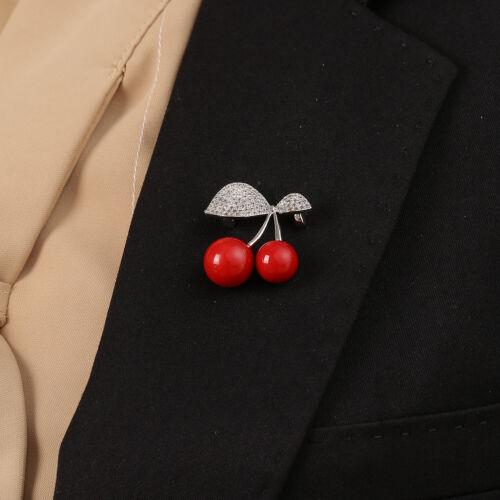 Kirsch Brosche Rot süß schön Zirkonia