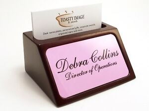 Personalized business card holder for desk mahogany with pink image is loading personalized business card holder for desk mahogany with colourmoves