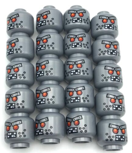 Lego 20 New Flat Silver Minifigure Head Alien with Red Eyes Metal Eyebrows