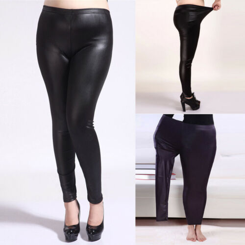 Women Push Up Faux Leather Leggings High Waist Pants Wet Look Slim Trousers  K7