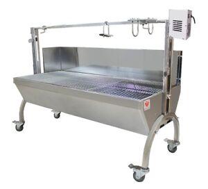 Beeketal Spanferkelgrill Lammgrill BBQ Grill Grillwagen Barbecue mit Windschutz