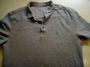Mens-AllSaints-Beige-Short-Sleeve-Polo-Shirt-Size-M