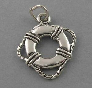 LIFE-PRESERVER-New-Sterling-Silver-Charm-Pendant-Nautical-Ocean-Beach-2385