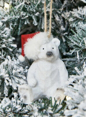 Next Barnaby Polar Bear Bauble Santa Hat Hanging Decoration Ornament Figurine Bn Ebay