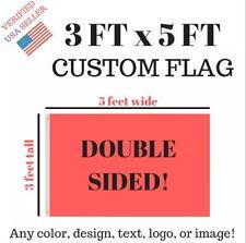 Custom Flag Double Sided Banner 3x5 Feet Size Usa Ship High Quality Triple Layer
