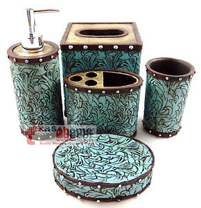 Floral turquoise brown studs bathroom accessory set 5 for Turquoise and brown bathroom sets