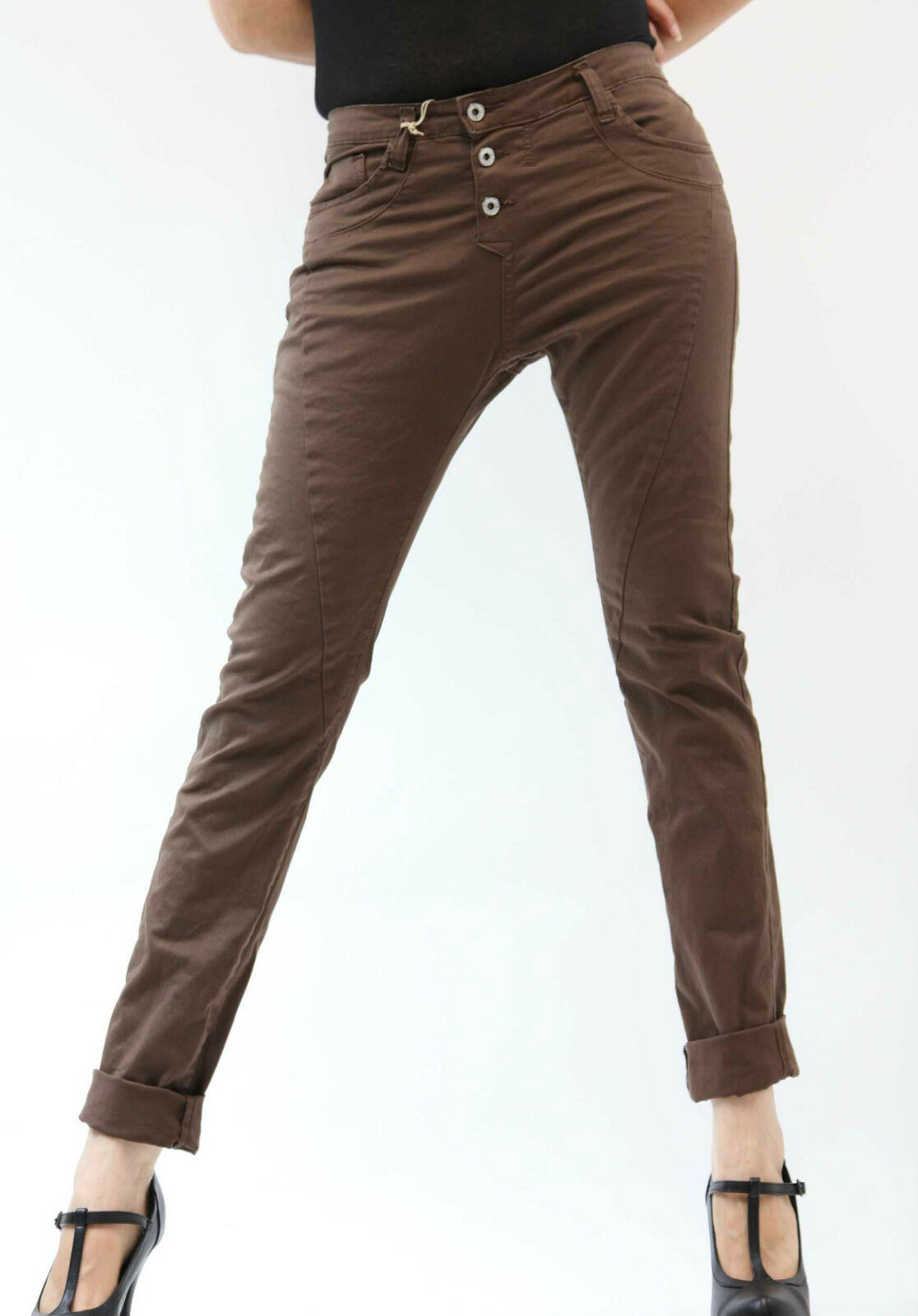 PLEASE Jeans Jeans Jeans P78ADT6TD boyfriend Donna Baggy Cavallo Lungo 3 Bottoni - Chocolate a2dbaf