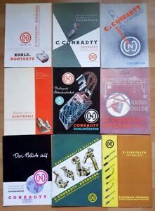 Conradty-24x-alte-Werbung-Nuernberg-Kohlebuersten-1950er-1960er-Roethenbach-Pegnitz