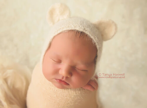 Hand Crochet Knitted Baby Hat Teddy Bear Alpaca Photo Prop Boy Girl Newborn-6M
