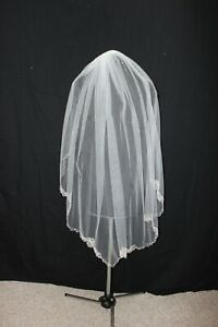 New! Light ivory single layer fingertip length bridal veil, silver embroidery