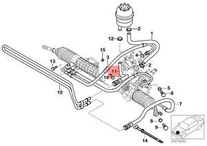 s l300 genuine bmw e46 cabrio power steering radiator return hose oem e46 power steering hose diagram at gsmx.co