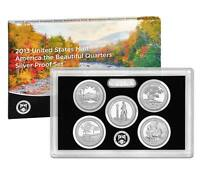 2013 S America The Beautiful Silver Proof Quarters 5 Coin US Mint Parks Set Box