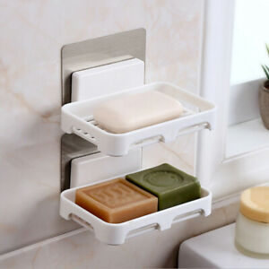 Wall-Mounte-Adhesive-Soap-Holder-Bathroom-Shower-Storage-Soap-Dish-Container-Box