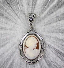 Vintage Antique Shell Cameo Pendant Necklace  Carved in Italy
