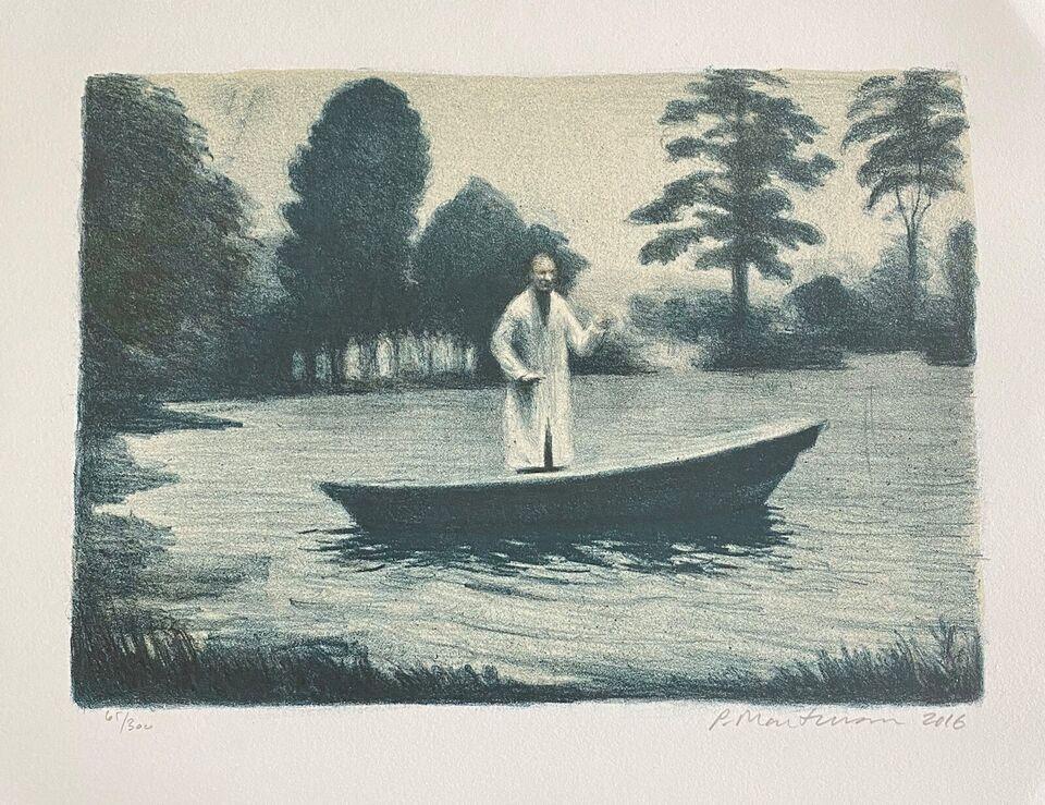 Litografi, Peter Martensen, motiv: The Lake