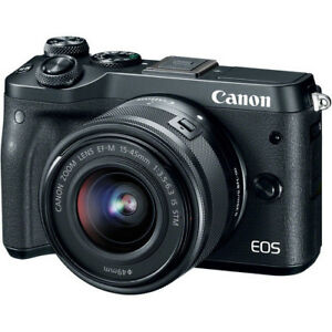 Canon EOS M6 Mirrorless Digital Camera - Black with 15-45mm Lens 13803286700
