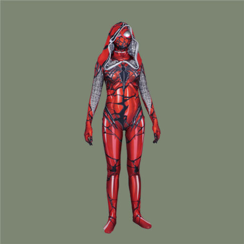 Red Cosplay Venom Gwen Stacy Spider Superhero Costume Halloween Zentai Jumpsuit