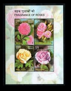 INDIA-2007-MNH-SS-Rose-Fragrance-Roses-Flowers-Odd-unusual-Stamps