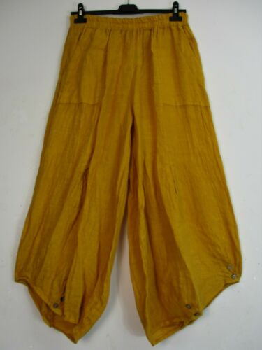 PLUS ONE SIZE LAGENLOOK 100/% LINEN ITALIAN CROPPED TROUSERS POCKETS12 COLOURS