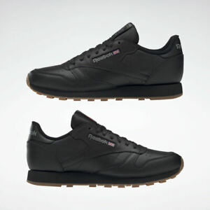 Reebok Classic Leather Trainers in Black & Gum Sole - UK 10
