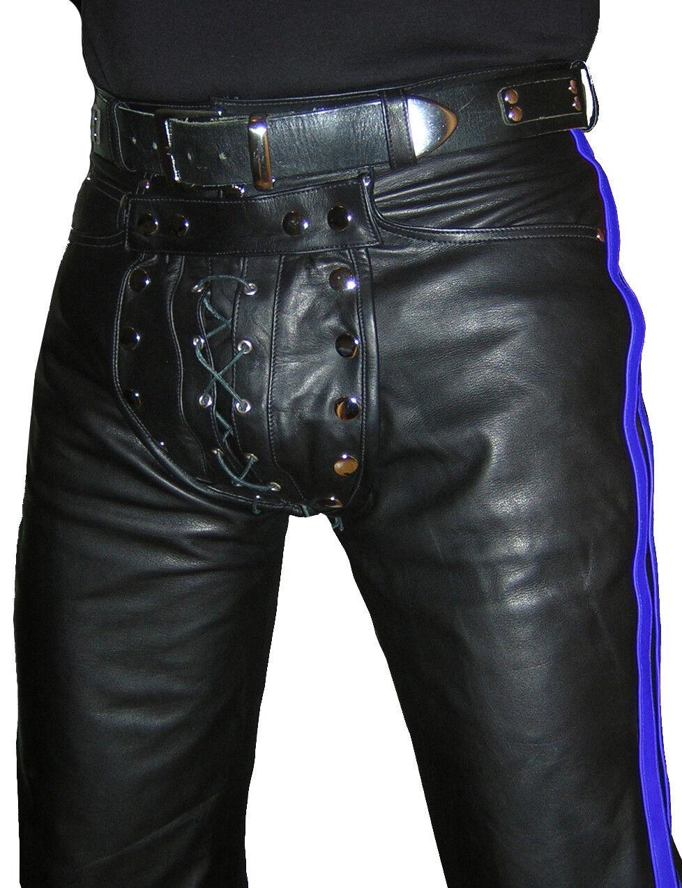 Lederhose black blue Hose gay Lederjeans NEU Cod piece leather pants trousers