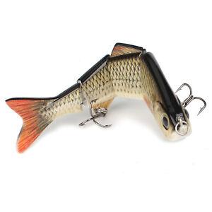 Multi-jointed Bass Pike Fishing Lure Crank Bait Swimbait Life-like Shad Minnow.