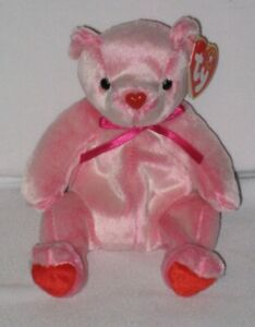 Ty Beanie Baby - Romance Valentine's Day Bear - DOB February 2, 2001 -  MWMT