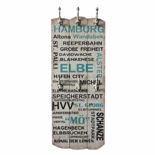 Wandgarderobe Shabby Chic Echtholz Garderobenleiste mit 6 Haken 100 x 40 Vintage