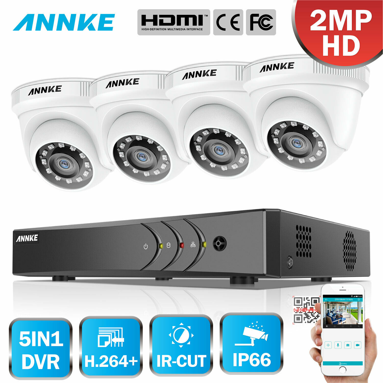 US ANNKE Home 1080P 4CH DVR 4x 2MP Smart Surveillance Security Camera System New