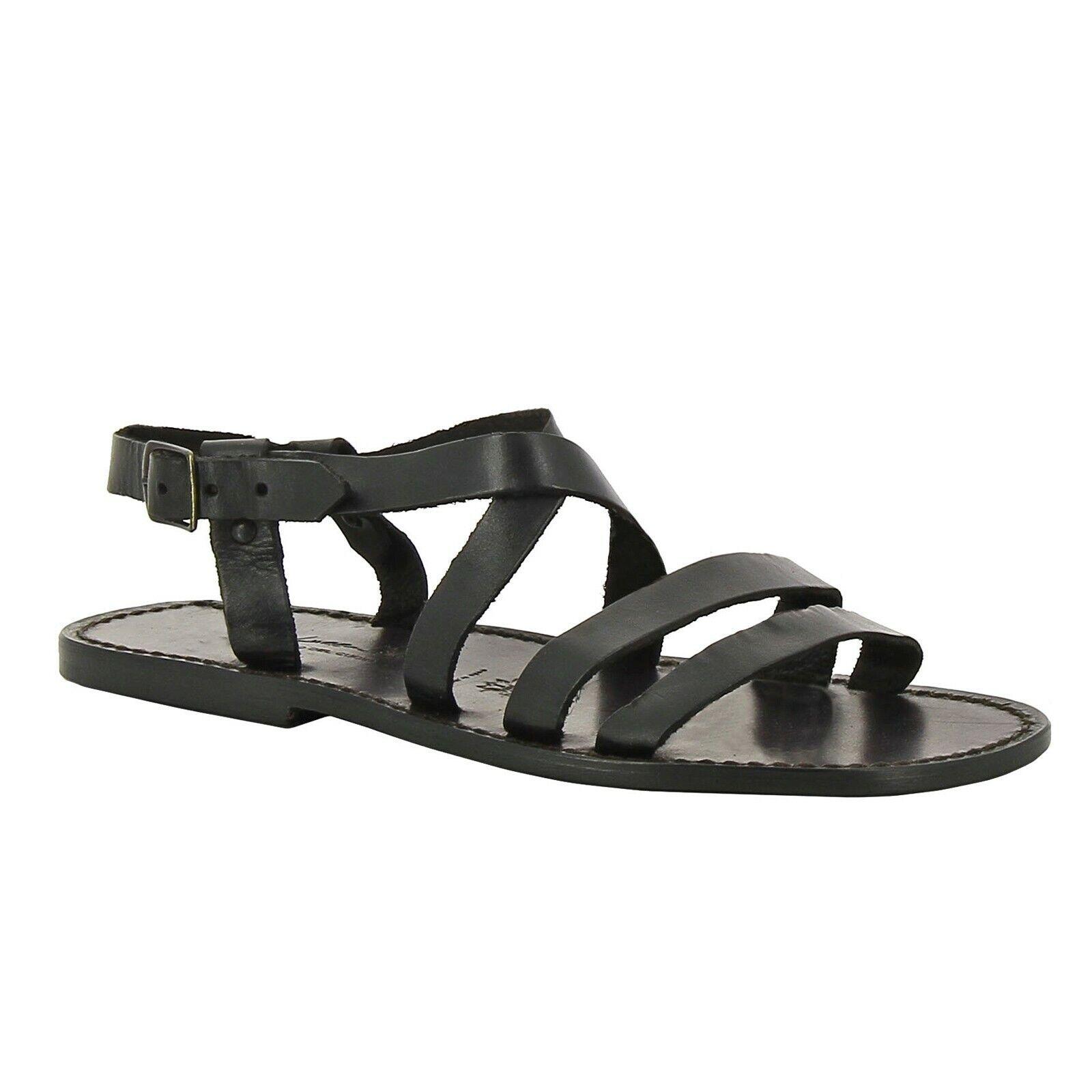 Handmade gladiator flat open sandals for men black genuine leather Italian shoes