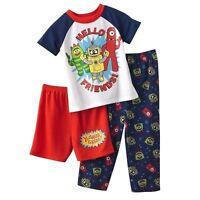 Yo Gabba Gabba 3 Pc Short Sleeve Pajama Shirt Pant Short Set Boy Size 4t