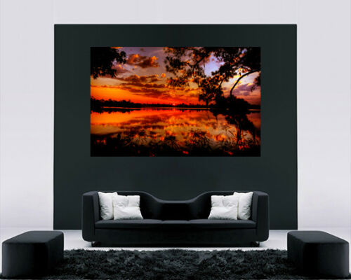 Cotton Canvas Wall Art Picture Print Golden Sunset at Lake ALL SIZES