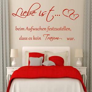 Details zu Wandtattoo Schlafzimmer Spruch Liebe ist beim Aufwachen...  Wandaufkleber